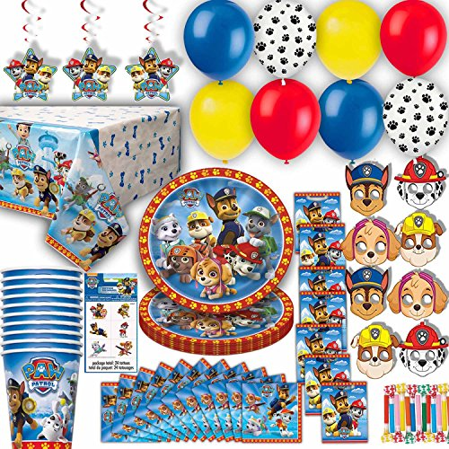 Balloons Masks Plates Table Cover Birthday Hats Loot Bags Tattoos Hanging Decorations Cups Napkins Paw Patroll Party for 8 Party Blowouts