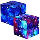 YALAMI Infinity Cube Fidget Toy for Kids and Adults, Mini Stress Relieving Fidget Cube for Teens Boys/ Girls, Unique Anxiety Relief Sensory Toys for Autistic Children ADHD - 2 Pack (Galaxy)