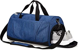 Sports Gym Bag, Holdall Weekend Travel Duffel bag with Wet Pocket & Shoes Compartment for Women & Men, 35L, Lightweight (Blue)