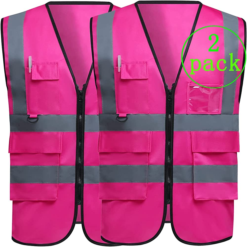 Mail order cheap 2 Pack High Visibility Reflective Safety Construction Vest Workw Max 89% OFF