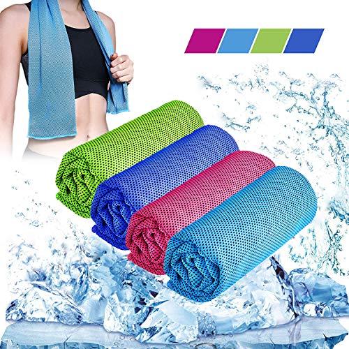 kühltücher 4er Set, 30 x 100cm Kühlendes Handtuch Set - Cool Down Towel - Sporthandtuch für Unterwegs, Kühltücher Hals, Kühltuch für Sport, Yoga, Fitness, Camping, Reisen, Freizeit