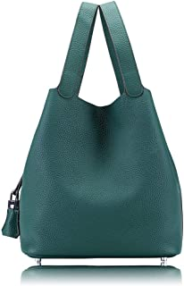 Womens Tote Bags Genuine Leather Bucket Bag Purse With Padlock Handbags For Women 25cm