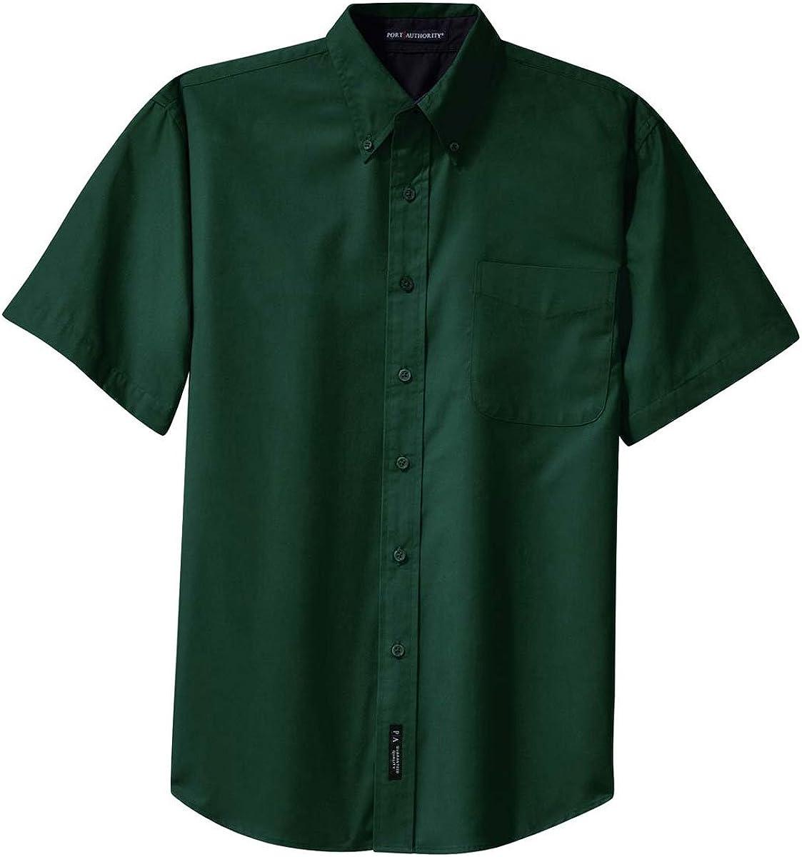 Port Authority Men's Big Short-Sleeve Easy Care Dress Shirt-Dark Green/Navy S508