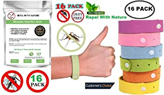Mosquito Repellent Bracelet, Insect Repellant 16 Pack for Kids & Adults Organic Citronella Bands Wrist Ankle Natural Product, Anti Mosquito Bracelets, Eco Friendly Resealable, Bug Bands 9.5 inches