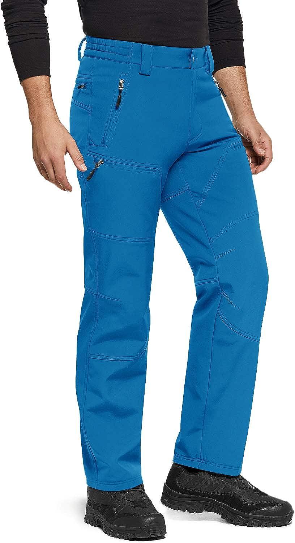 Outdoor Snow Ski Fishing Fleece Lined Insulated Pants TSLA Mens Winter Waterproof Softshell Hiking Pants