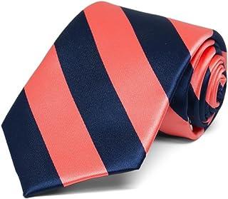 TieMart Boys' Bright Coral and Navy Blue Striped Tie