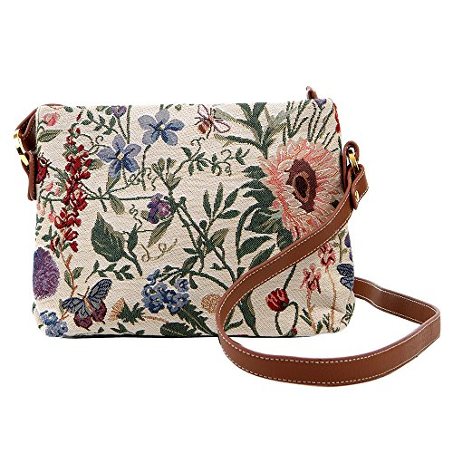 Signare Fashion Canvas/Tapestry Acrossbody bag/Messenger bag/Pocket bag in Floral design - calming Morning Garden, brings out the peace in you, vintage design