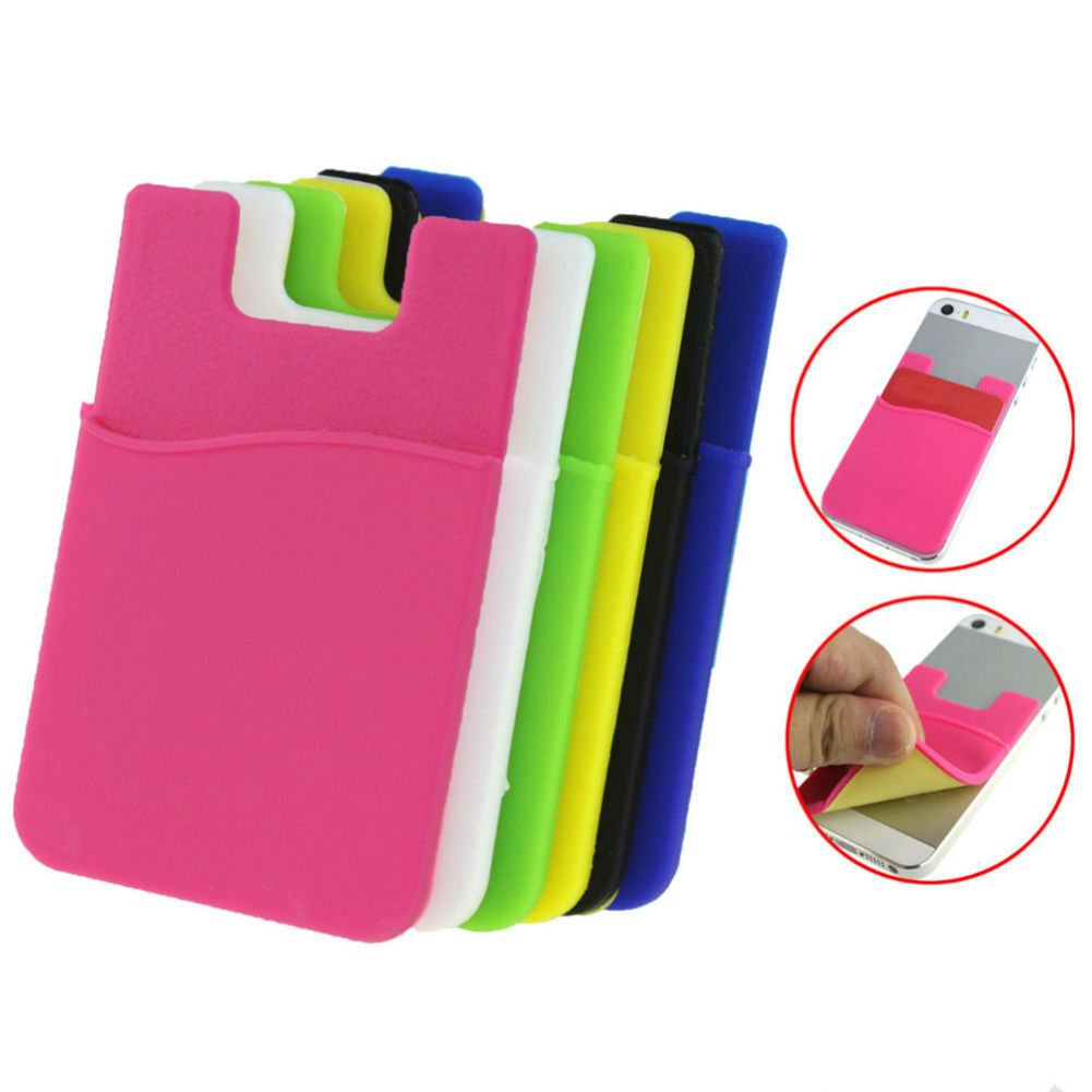 AKOAK 6 Piece Assorted Color Phone Card Holder,Adhesive Sticker Back Cover ID Credit Card Wallet Pocket Pouch Sleeve - Universal Size for Most of Phones