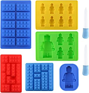 Set of 6 Robot Silicone Molds, Yatuela Building Bricks Blocks molds Ice Cube Tray,Candy Fondant Mold, Chocolate Mold with 2 Droppers for Kids Party Baking DIY Cake Decoration Baby Shower Designs
