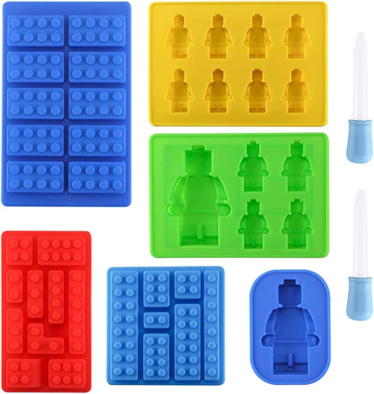Set Of 6 Robot Silicone Molds Yatuela Building Bricks Blocks Molds Ice Cube Tray Candy Fondant Mold Chocolate Mold With 2 Droppers For Kids Party Baking DIY Cake Decoration Baby Shower Designs