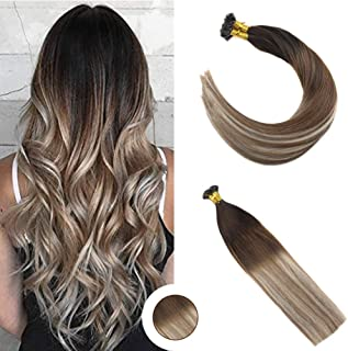 Ugeat Flat Tip Extension Human Hair Balayage Color Dark Brown Ombre Medium Brown Mix Bleach Blonde 14inch Brazilian Hair 50g 1g/strand Cold Fusion Hair Extension