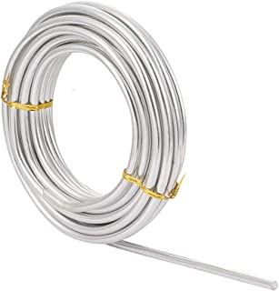 Pandahall 3 Gauge Aluminum Wire 7m/22.9Ft 6.0mm Thickness Silver Color Flexible Metal Floral Jewelry Making Beading Wire for DIY Crafts Anodized Wrapping Wire