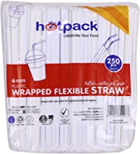 Hotpack Disposable Wrapped Plastic Drinking Straws - 6Mm, 250 Pcs (STRAWW)
