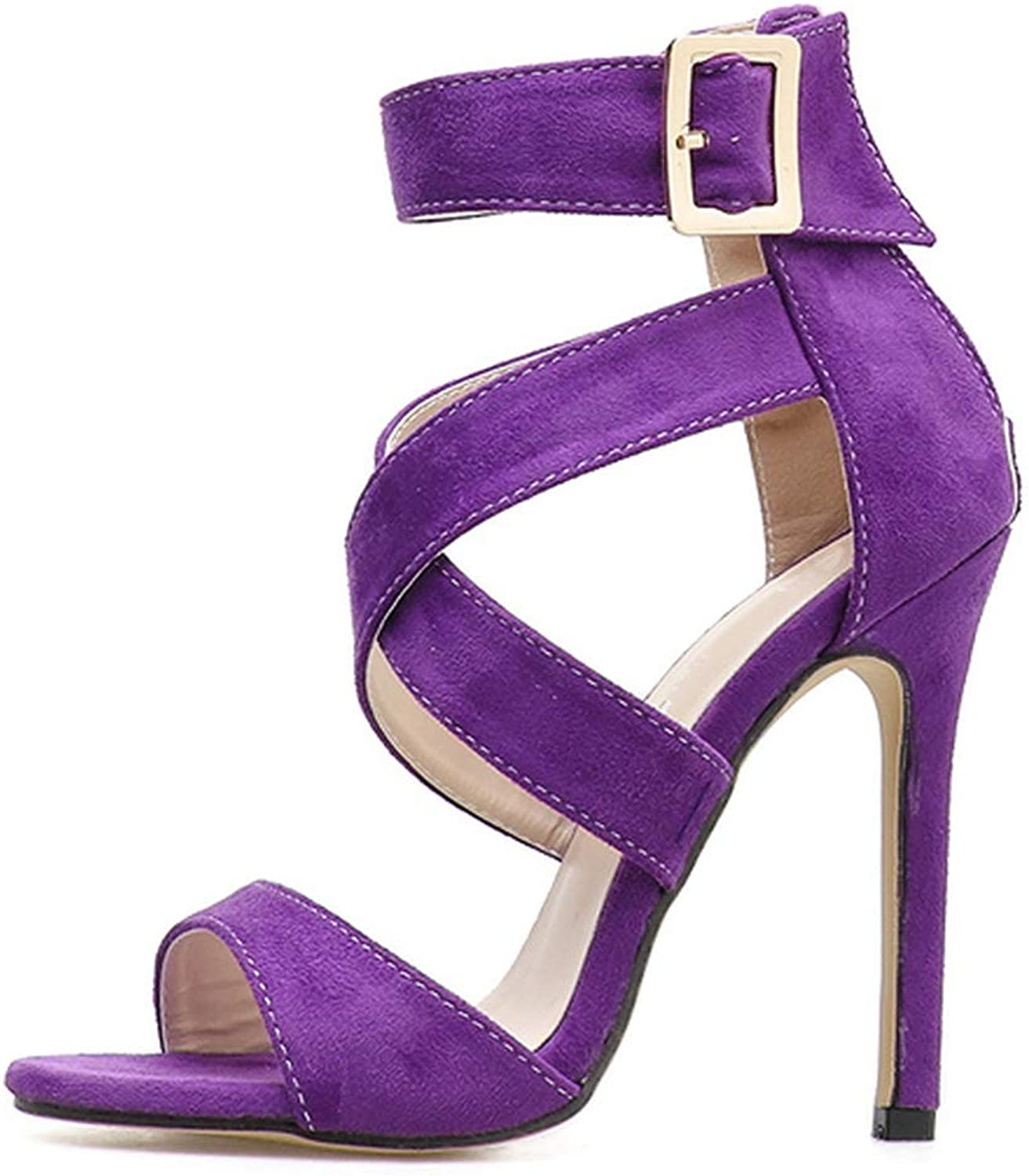 Meet at Summer-heeled samndals High Heels Sandals Concise Solid Flock PU Open Toe Buckle Sexy Women's Party Sandal