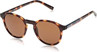 LACOSTE Unisex Sunglasses Round, La Color Block - Havana