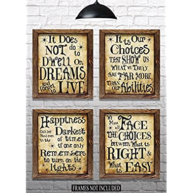 Harry Potter Quotes & Sayings - Set of 4 - 8 x10  Prints - Great Harry Potter Gifts (set #1)