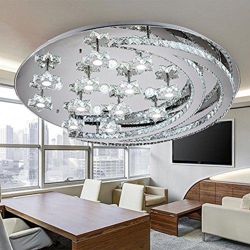 Led Plafonnier Salon Moderne Minimaliste Lune Cristal Ligne Cut Cristal Lampe , 40cm