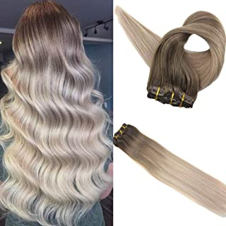 Clip in Hair Extensions 18inch Colored Clip on Hair 120 Gram Color 8 Ash Brown Fading to 18 Highlights with 60 Platinum Blonde Balayage Full Head Straight Brazilian Hair