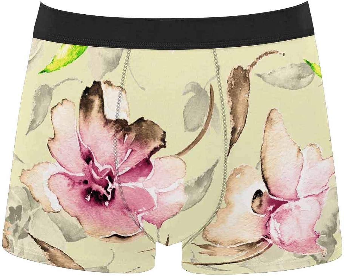 InterestPrint Comfort Polyester Boxer Briefs Underwear for Mens Juniors Yoth Boys Beautiful Floral Pattern