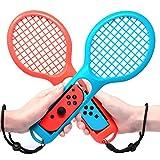 MENEEA Raquette de Tennis pour Manettes Nintendo Switch Joy-con, Paquet de jeux Raquettes de Tennis pour jeu d'accessoires Mario Tennis Switch, Accessoires Nintendo Switch (Bleu et Rouge)