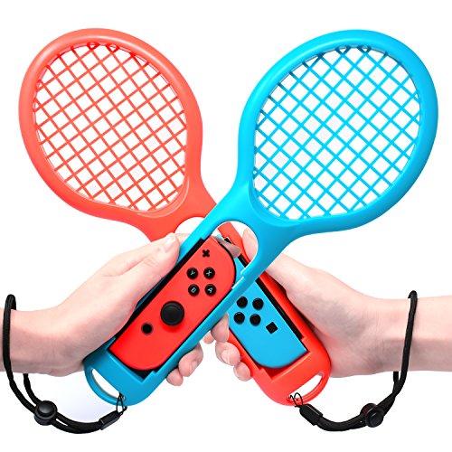 MENEEA Jeu Switch Mario Tennis Raquette pour Manettes Nintendo Switch Raquette Joycon, Paquet de jeux Raquettes de Tennis pour jeu d'accessoires Mario Tennis raquette Switch (Bleu et Rouge)