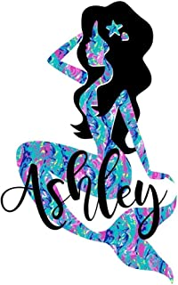 Pattern Mermaid Name Decal Sticker | Personalized Beach Vinyl Decal for Yeti Tumbler, RTIC Cup, Laptop, Car Window Accessories for Women | You Choose Size and Color