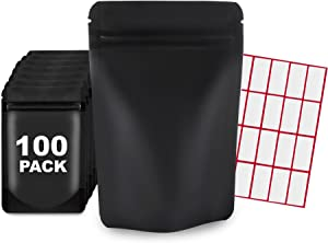 100 Pcs Mylar Bags 4x6 Resealable Mylar Food Storage Bags With LABELS Mylar Ziplock Bags Smell Proof Air Tight Herb and Food Storage Food Self Sealing Storage Supplies (Matte Black 4 x 6 Inch)