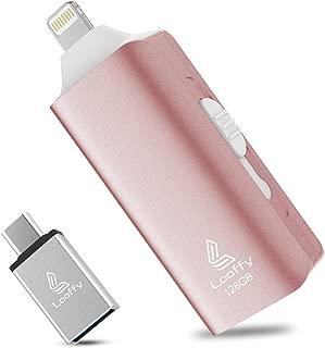 USBメモリ フラッシュメモリー フラッシュドライブ フラッシュディスクiPhone対応USB3.0 Type C Lightning 128GB小型 高速 USBメモリー 一本三役 外付けフラッシュドライブ バックアップ 日本語説明書付き (128GB, ピンク1)