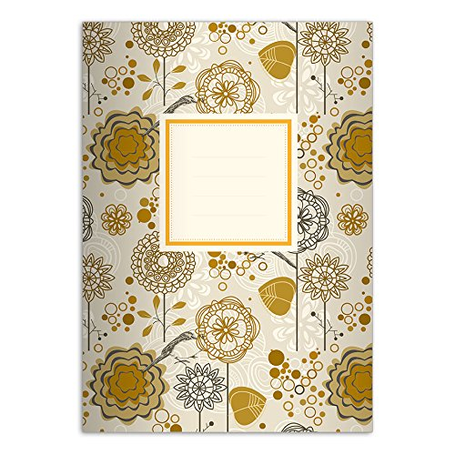 1 vrolijk Flower Power DIN A4 schoolschrift, rekenmachine, geel/beige liniatuur 29 (geruit/geruit boek)