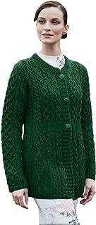 100% Irish Merino Wool Ladies A Line Aran Sweater by Carriag Donn