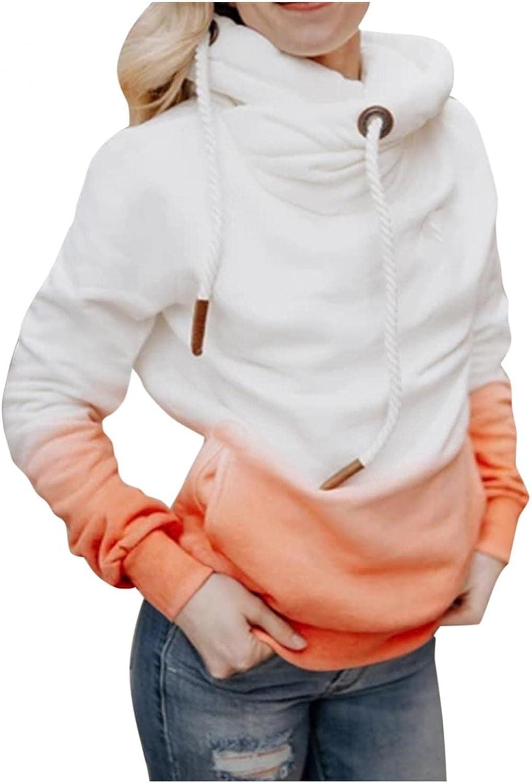 COMVALUE Hoodies for Women,Womens Pullover Sweatshirts Gradient Pocket Long Sleeve Drawstring Casual Sport Tops