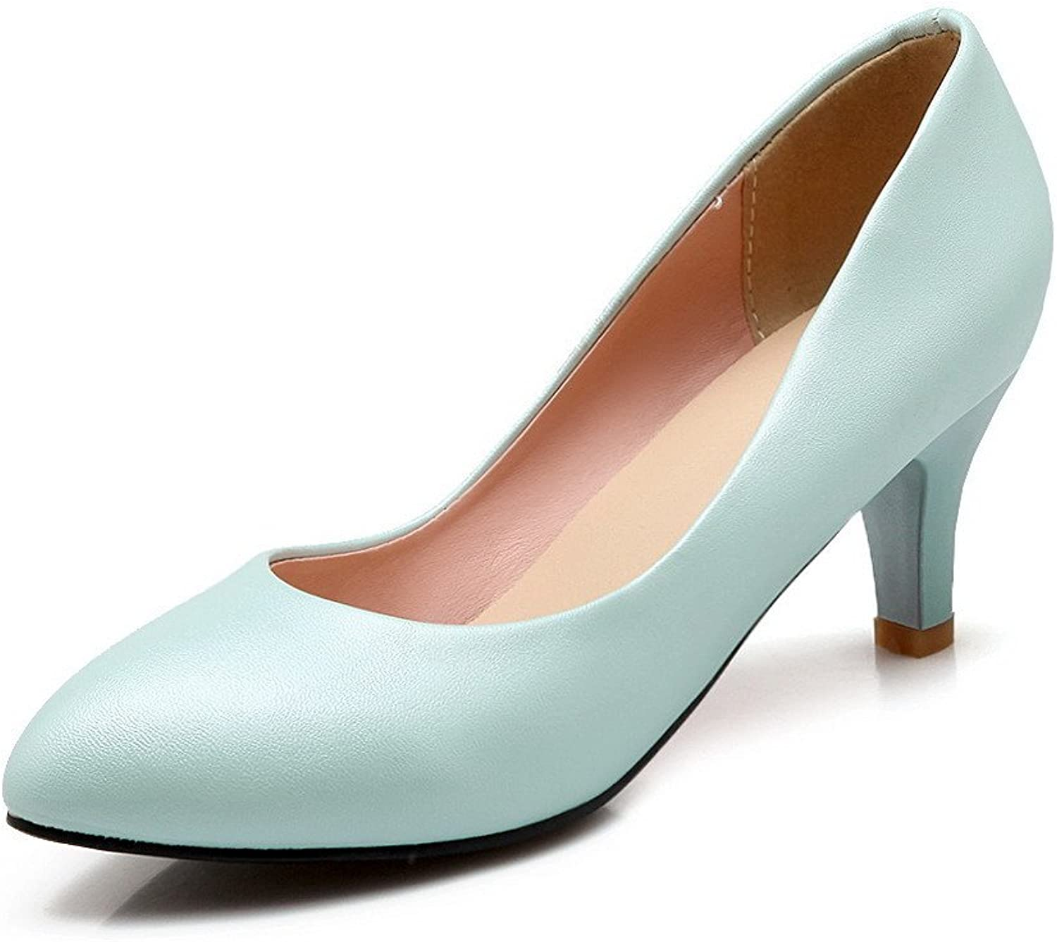 WeenFashion Women's Solid Soft Material Kitten-Heels Pull-on Pointed Closed Toe Pumps-shoes