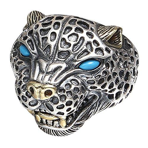 ForFox Anillo de Leopardo Animal Joyería de Plata esterlina 925 Negro con Turquesa para Hombres Ajustable