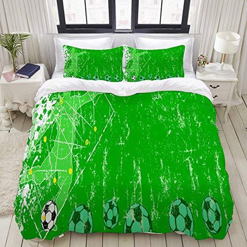 DuvetCoverSet, Fußball Fußball Design Vorlage Banner Hintergrund, ColourfulDecorative3PieceBeddingSetwith2PillowShams