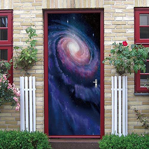 KGLGCY Cartel puerta DIY grupo 2 pegatinas autoadhesivas de PVC efecto 3D para decoración de puertas arte de fotos papel pintado 77 x 200 cm