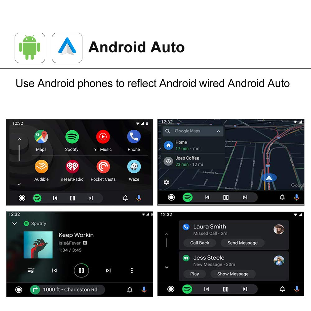Wireless CarPlay Adapter Android Auto USB Dongle for Aftermarket Car Radio with Android System 4.4.2 or Above(Install Autokit app in Android Car Radio) (Black)