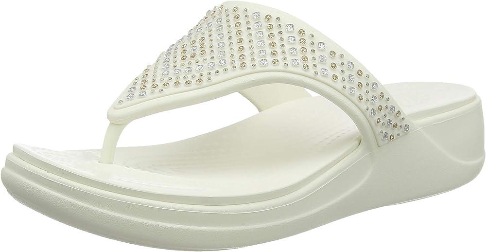 Crocs monterey shimmer wedge flip sandali con zeppa per donn 206343A