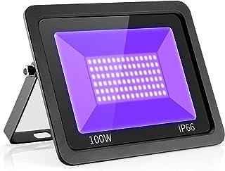 UV LED Black Lights Flood Bulbs 100W 395nm Ultraviolet Lamp IP66-Waterproof Blacklight Purple Glow In The Dark Paint Party...