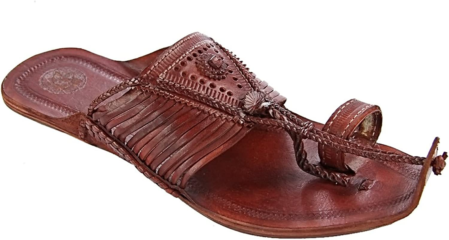 KOLHAPURI CHAPPAL Original Royal Look red Brown Fourteen Laces Designer's Slipper Sandal