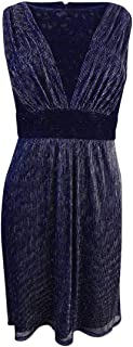Sangria Women's Petite Lace-Trim Metallic Pleated Dress (8P, Navy)