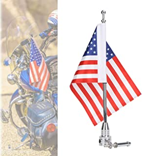 "Motorcycle Flagpole Mount and American Flag - 6"" x 9"" Premium Double Sided USA Flag - Stainless Flag Pole Fixed Mount for 1/2"" Tubular Luggage Racks for Harley Davidson Honda Goldwing Etc"