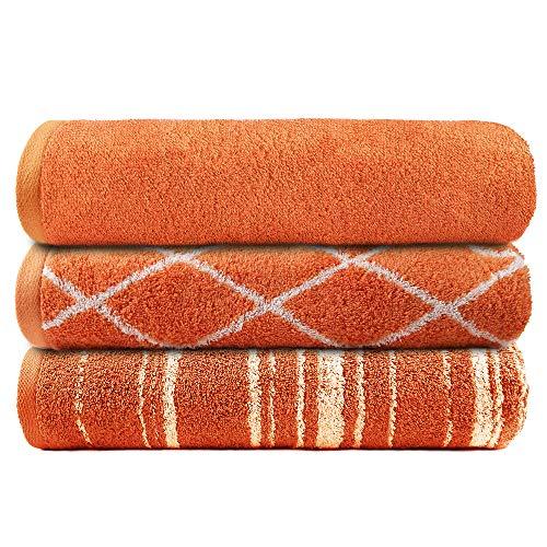 TRIDENT Play (Naranja) Certificado Gots, algodón orgánico, Juego de Toallas de Gimnasio de 3 Piezas, 450 gsm, súper Suave, Altamente Absorbente, de Secado rápido, Gimnasio, Multiusos