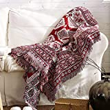 Y-PLWOMEN Boho Throw Blanket, 50'x70', Mexican Cotton Woven Bed Throw with Fringe, Red Soft Reversible Blanket Decor, Decorative for Couch Sofa Bed Chair Outdoor Camping…