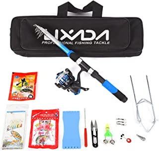 Lixada Telescopic Fishing Rod and Reel Combos Fiberglass Full Kit Sea Fishing Pole Spinning Reel Set with Fishing Lures,Hooks,Barrel Swivel,Carrier Case