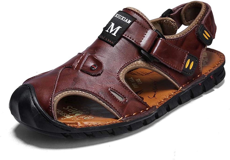 HRN Men's sandals leather non-slip Roman shoes Baotou breathable beach shoes summer