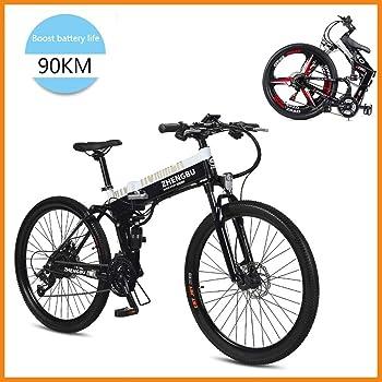 SupShop Bicicleta eléctrica, 26 Pulgadas neumático Gordo Bicicleta eléctrica 400W 48V Nieve E-Bici Shimano 27 Velocidades Plegable de aleación de Aluminio Marco con Batería de Litio Desmontable: Amazon.es: Deportes y aire libre