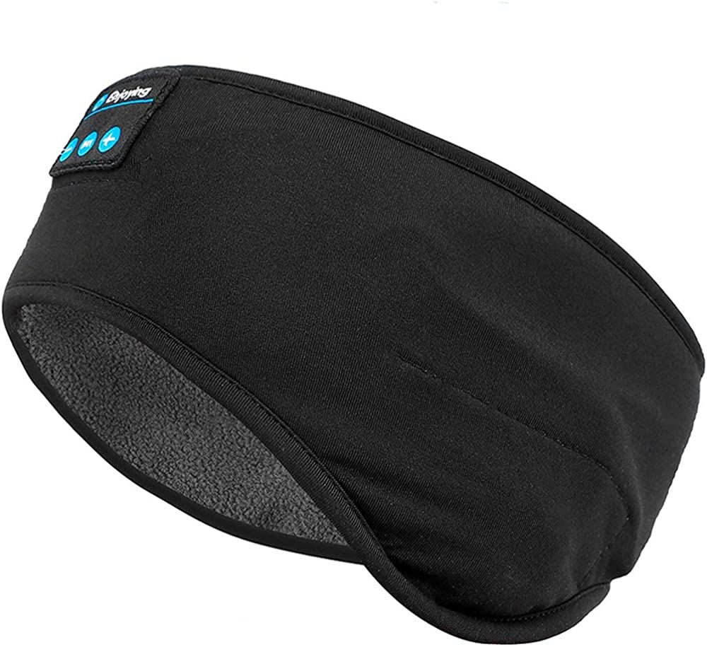 Bluetooth Fleece Ear Warmer Headband Headphones - Bluetooth Winter Ear Muffs Warm&Cozy Headband for Men Women Sleep Headphones - Running Headband with Speakers Microphones for Outdoor Sports Sleeping