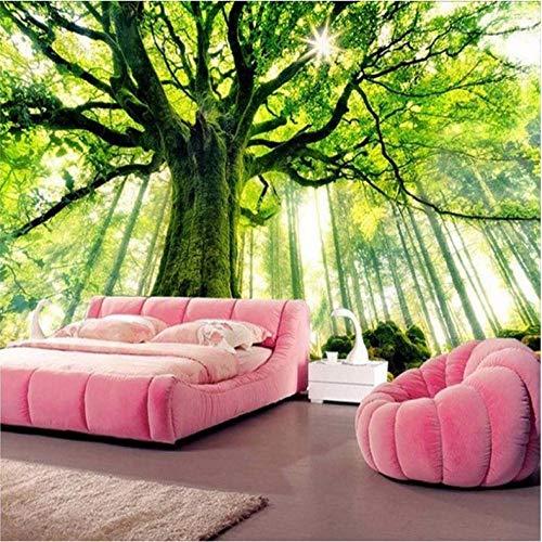 Fotomurales papel de pared 3d Gran árbol verde no tejido moderna Fotográfico Diseno TV Fondo grandes salones Hogar decorativos -350X250 cm (137 * 98 pulgadas)