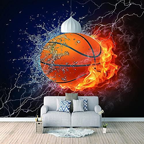 Papel Pintado 3D Foto Murales Baloncesto de fuego de hielo,Papel Tapiz Fotográfico Premium No-Tejido Mural Apto para Sala de Estar Dormitorio Decoración de la Papel Tapiz 450x300 cm - 9 tiras