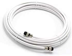 THE CIMPLE CO - 25' Feet, White RG6 Coaxial Cable - Made in The USA - with Rubber booted - Weather Proof - Outdoor Rated Connectors, F81 / RF, Digital Coax for CATV, Antenna, Internet, Satellite